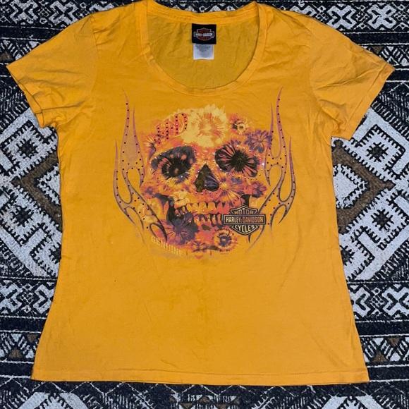 Harley Davidson jeweled floral skull T-shirt L